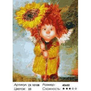 Количество цветов и сложность Ангел с подсолнухом Раскраска картина по номерам акриловыми красками на холсте