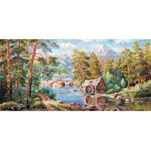 Пейзаж с мельницей Набор для вышивания Алиса