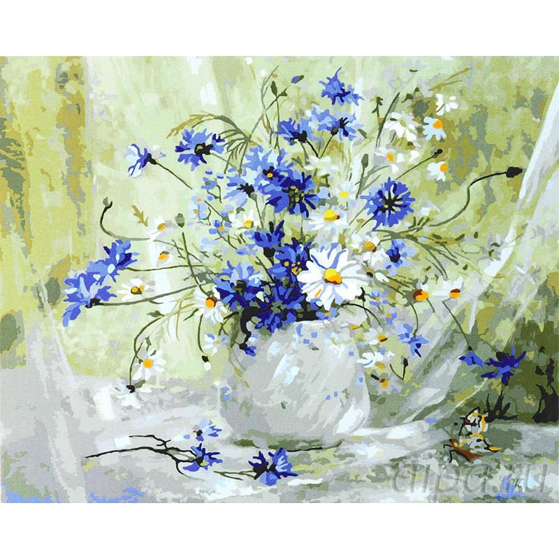 Раскраска по номерам Цветы с луга картина 40х50 см на ...