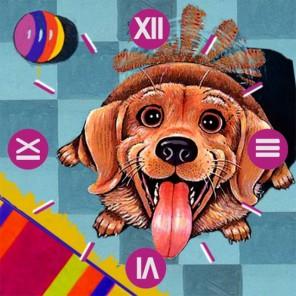Счастливый пес Часы Алмазные на подрамнике с частичной выкладкой Color Kit