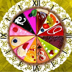 Время десерта Часы Алмазные на подрамнике с частичной выкладкой Color Kit
