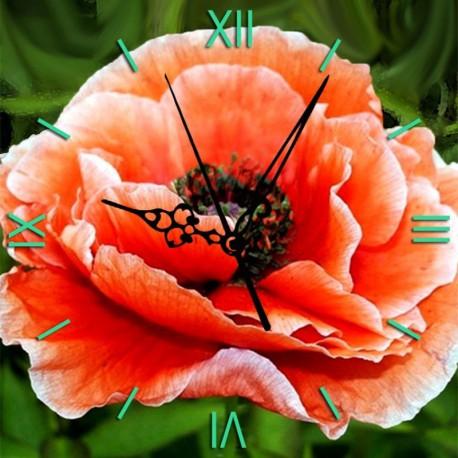Нежный мак Часы Алмазные на подрамнике с полной выкладкой Color Kit