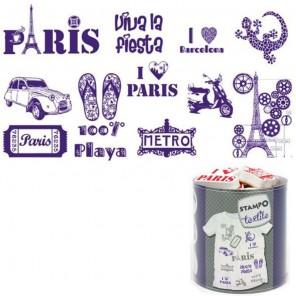 Париж и Барселона Набор штампов и штемпельная подушечка для оттисков на ткани Aladine