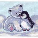 Мишка и пингвин Ткань с рисунком Матренин посад