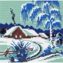 Зимнее утро Канва с рисунком для вышивки Матренин посад