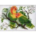 Попугаи неразлучники Канва с рисунком для вышивки Матренин посад