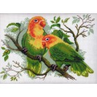 Попугаи неразлучники Ткань с рисунком Матренин посад