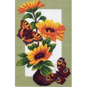 Бабочки на подсолнухах Ткань с рисунком Матренин посад