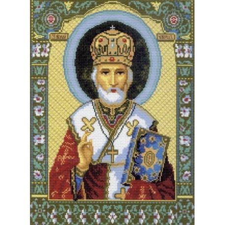Икона Святой Николай Чудотворец Ткань с рисунком Матренин посад