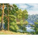 Озеро в лесу Ткань с рисунком Матренин посад