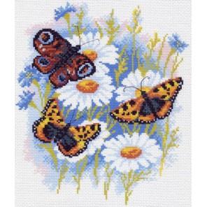 Бабочки на ромашках Ткань с рисунком Матренин посад