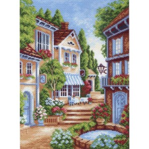 Цветущий дворик Ткань с рисунком Матренин посад