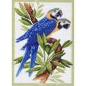 Сине-желтый Ара Ткань с рисунком Матренин посад
