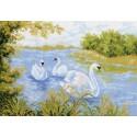 Лебединое озеро Ткань с рисунком Матренин посад