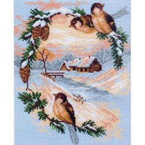 Зимняя открытка Ткань с рисунком Матренин посад