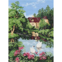 Дом у озера Ткань с рисунком Матренин посад