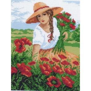Девушка с маками Ткань с рисунком Матренин посад