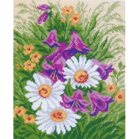 Ромашки и колокольчики Ткань с рисунком Матренин посад
