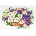 Ромашки и виола Ткань с рисунком Матренин посад