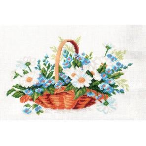 Корзина с незабудками Ткань с рисунком Матренин посад