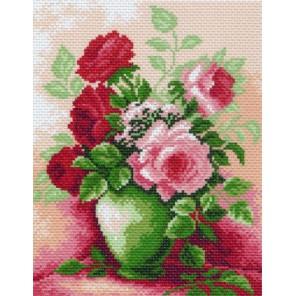 Розы в вазе Ткань с рисунком Матренин посад