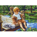 С другом на рыбалке Ткань с рисунком Матренин посад