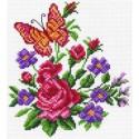 Цветы и бабочка Ткань с рисунком Матренин посад
