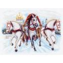 Тройка лошадей Канва с рисунком для вышивки Матренин посад