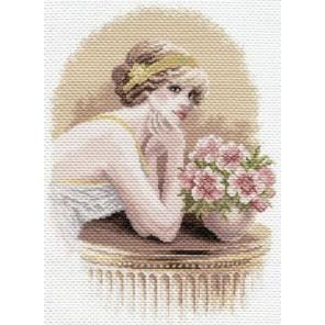 Девушка ретро Ткань с рисунком Матренин посад