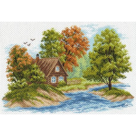 Пейзаж с домиком Ткань с рисунком Матренин посад