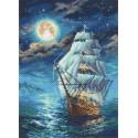 Ночной морской пейзаж Ткань с рисунком Матренин посад