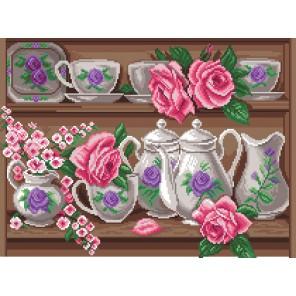 Розовый сервиз Канва с рисунком для вышивки Матренин посад
