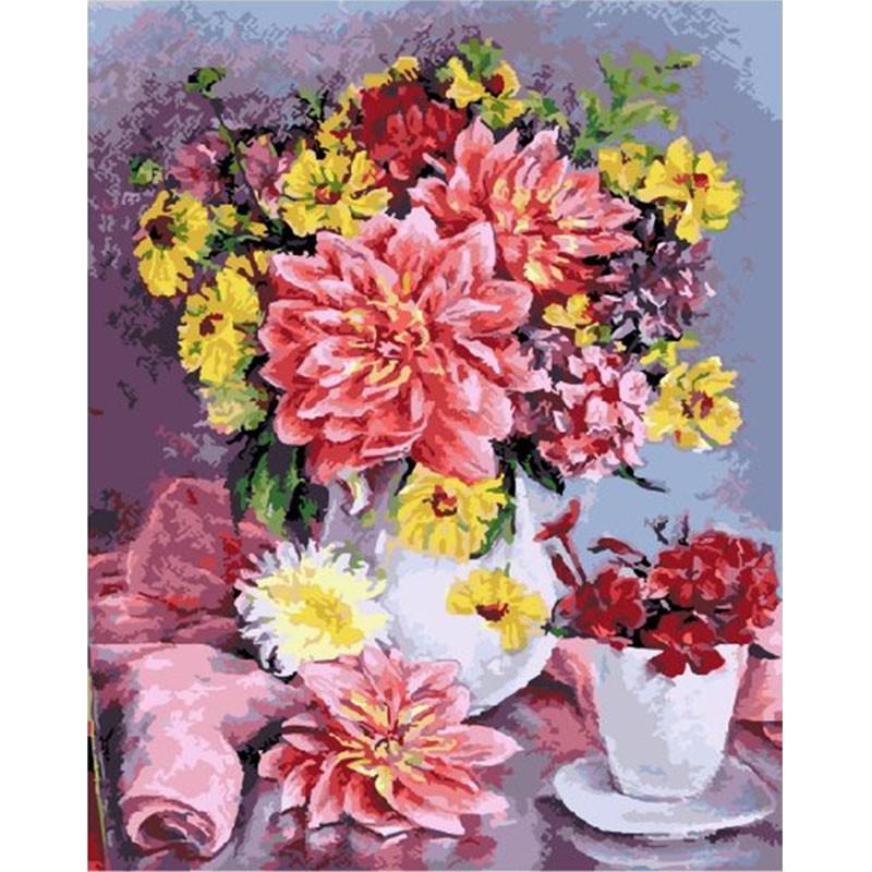 Розовые георгины Раскраска картина по номерам акриловыми ...