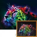 Неоновый леопард Алмазная мозаика на подрамнике