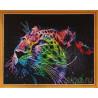 Неоновый леопард Алмазная мозаика на подрамнике Цветной