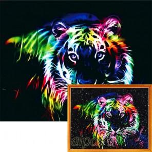 Фрактальный тигр Алмазная мозаика на подрамнике