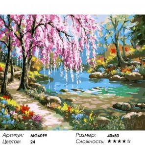 Сакура у реки Раскраска картина по номерам акриловыми красками на холсте