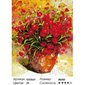 Количество цветов и сложность Алые цветочки Раскраска картина по номерам акриловыми красками на холсте