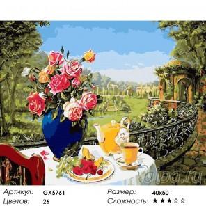 Количество цветов и сложность Завтрак на террасе Раскраска картина по номерам акриловыми красками на холст