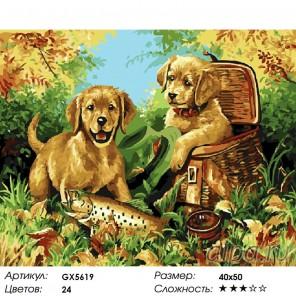 Количество цветов и сложность Щенячья охота Раскраска картина по номерам акриловыми красками на холст