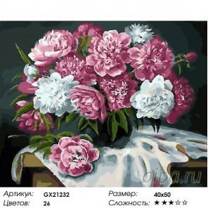 Количество цветов и сложность Пышные розовые пионы Раскраска картина по номерам акриловыми красками на холст