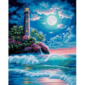 Маяк в лунном свете Раскраска картина по номерам Dimensions