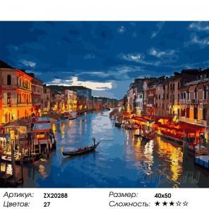 Количество цветов и сложность Ночная Венеция Раскраска картина по номерам акриловыми красками на холсте