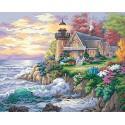 Дом у маяка на берегу Раскраска картина по номерам Dimensions