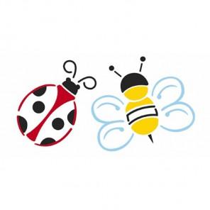 Пчела и божья коровка Трафарет 15х30 см Marabu