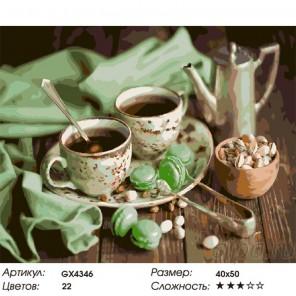 Сложность и количество цветов Чай с фисташками Раскраска картина по номерам акриловыми красками на холсте