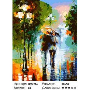 Количество цветов и сложность Двое под дождем (художник Леонид Афремов) Раскраска по номерам акриловыми красками на холсте
