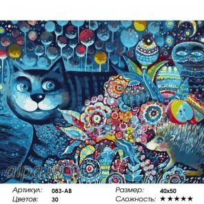 Индиго кот Раскраска ( картина ) по номерам акриловыми красками на холсте Белоснежка