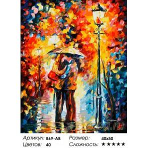 количество цветов и сложность Поцелуй под дождем Раскраска ( картина ) по номерам акриловыми красками на холсте Белоснежка