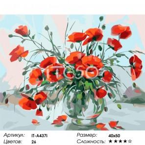 Сложность и количество цветов Нежные маки Раскраска картина по номерам акриловыми красками на холсте Iteso